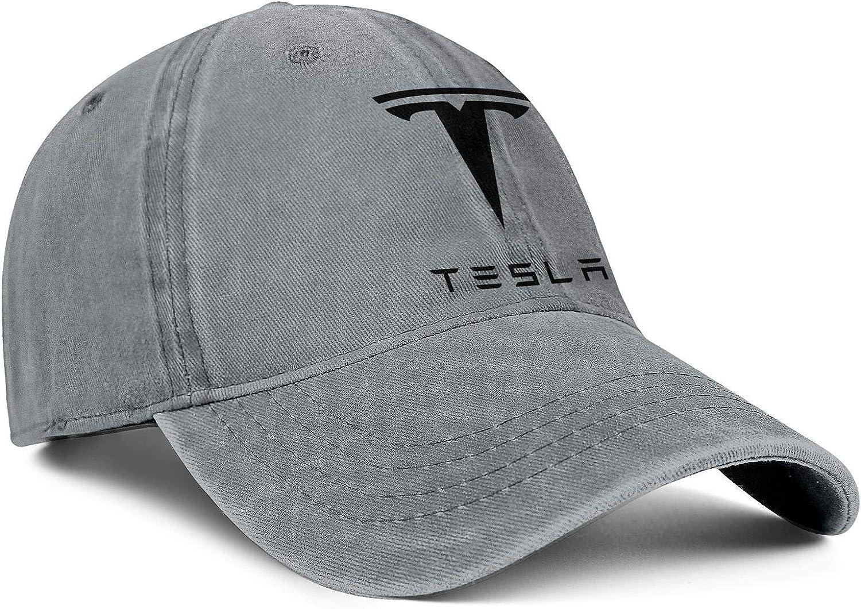 Mens Womens Washing Ball Cap Tesla-Logo Luxury Mesh Cap