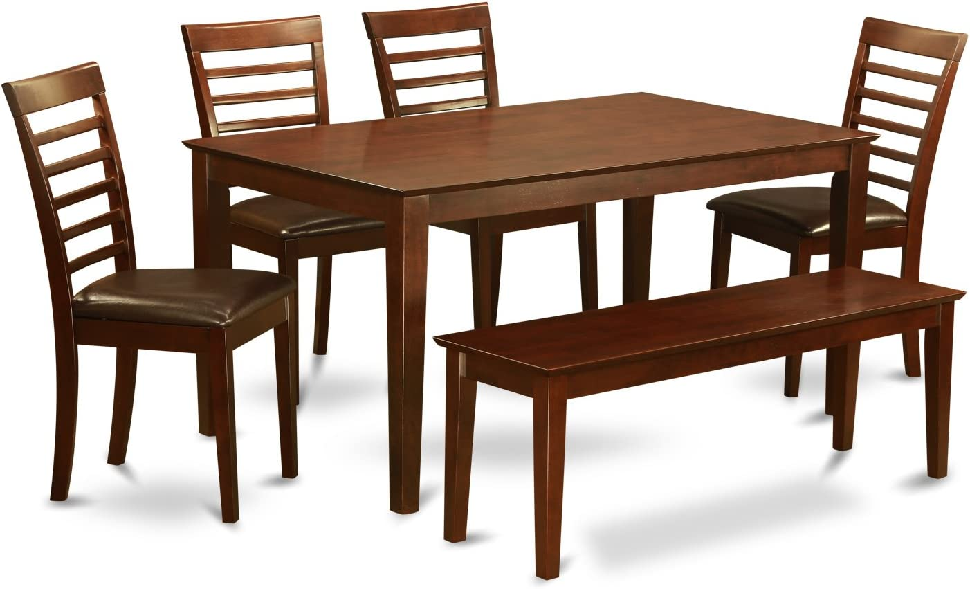 CAML6C-MAH-LC 6 PC Dining Table with bench set-Table and 4 Dining Chairs and Bench