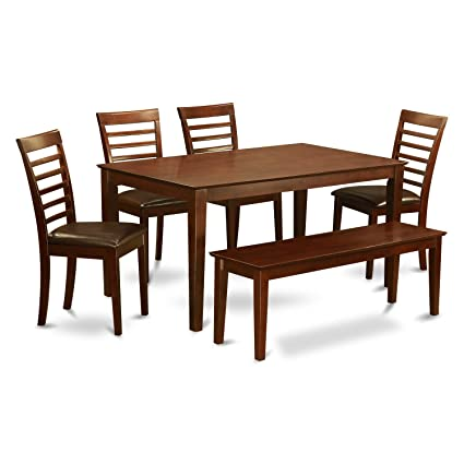 East West Furniture Caml6c Mah Lc With Set 4 Chairs And Bench Dining Table Faux Leather Seat Mahogany Finish