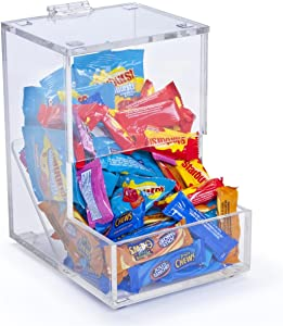 Clear Acrylic Candy Dispenser with Hinged Lid, Single Compartment, 6 x 8-3/4 x 8-Inch, Slanted Interior for Easy Dispensing, for Tabletop Use