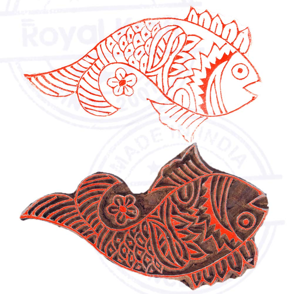 DIY Henna Fabric Textile Paper Clay Pottery Block Printing Stamp Innovative Printing Stamps Elephant Motif Wooden Blocks