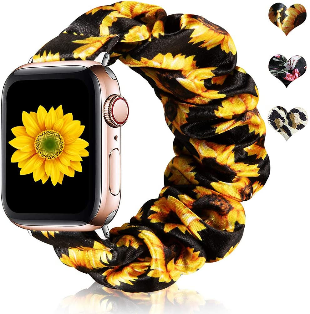CreateGreat Scrunchie Elastic Watch Band Compatible for Apple Watch 42mm/44mm, Sunflower Soft and Fashion Elastic Straps for iWatch Series 5 4 3 2 1-Small
