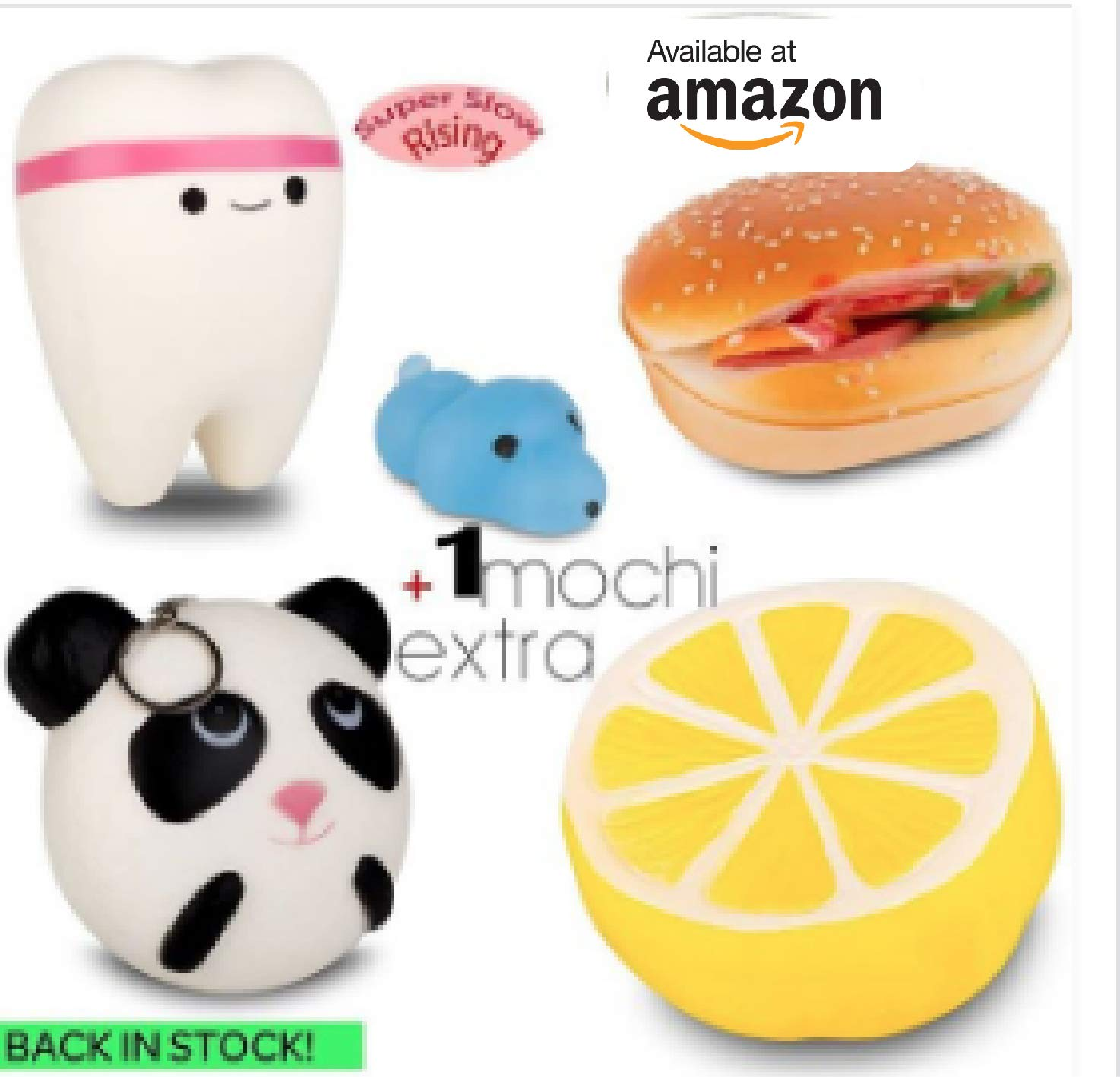 Kids and Adults Soft and Slow Rising for Stress Relief for Toddlers WUAH 5 Cutie Creative Squishy Toys Set: 4 Jumbo Squishies and 1 Mochi Squishy Cute Scented Squeeze Stuffed Toys
