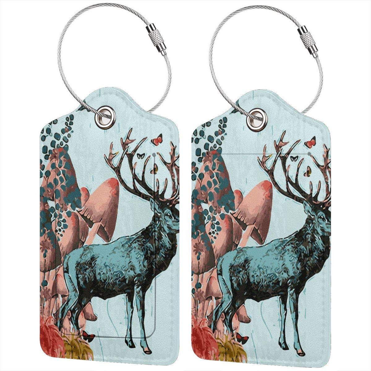 Mushroom Deer Luggage Tag Label Travel Bag Label With Privacy Cover Luggage Tag Leather Personalized Suitcase Tag Travel Accessories