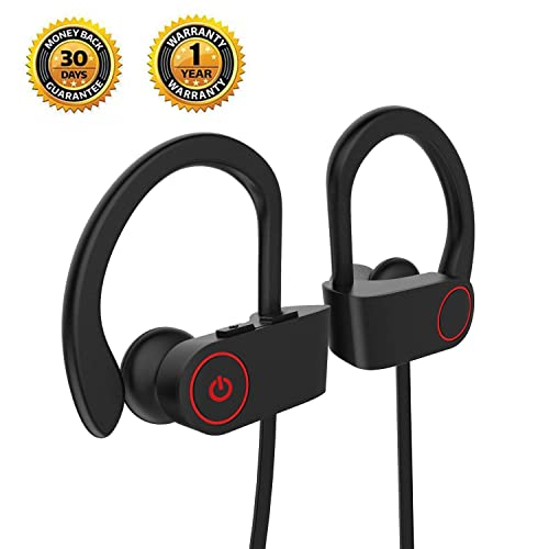 Wireless Earphones,Wildhooy IPX7 Waterproof Sports Running Bluetooth 4.1 Wireless Headphones with Mic Noise Cancelling for Jogging Exercise Hiking