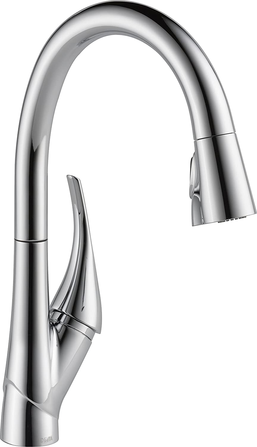 Delta Faucet Esque Single-Handle Kitchen Sink Faucet with Pull Down Sprayer, ShieldSpray Technology and Magnetic Docking Spray Head, Chrome 9181-DST