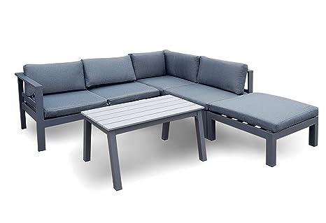 Salon de jardin osoltus - En aluminium - Moderne - Gris ...