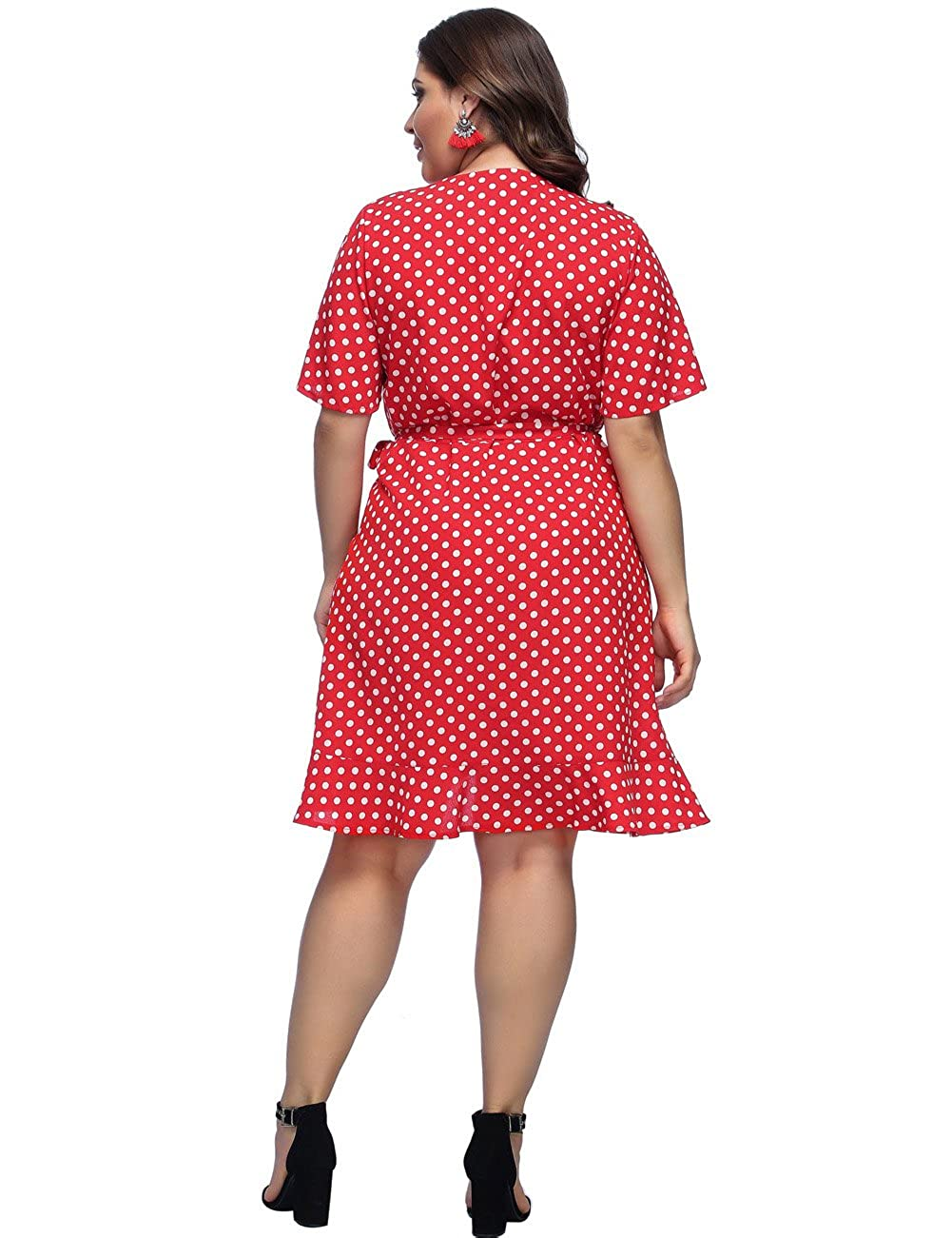 0c0fe412dc JOYMODE Women Plus Size Dress Polka Dot Print V-Neck Bell Sleeve Casual Wrap  Midi Dresses with Tie Waist at Amazon Women s Clothing store