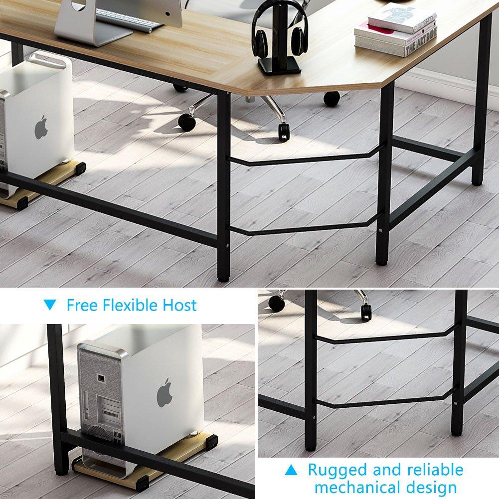 Tribesigns Modern L-Shaped Desk Corner Computer Desk PC Laptop Study Table Workstation Home Office, Wood & Metal (Walnut + Black Leg)
