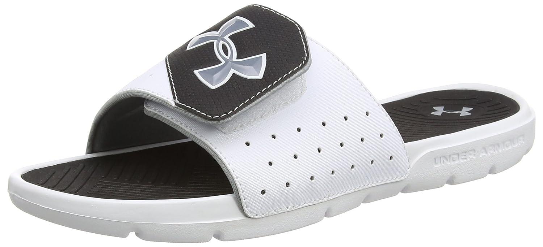 Amazon.com | Under Armour Men's Playmaker V Slides (White/Black/Steel) 7 |  Sandals
