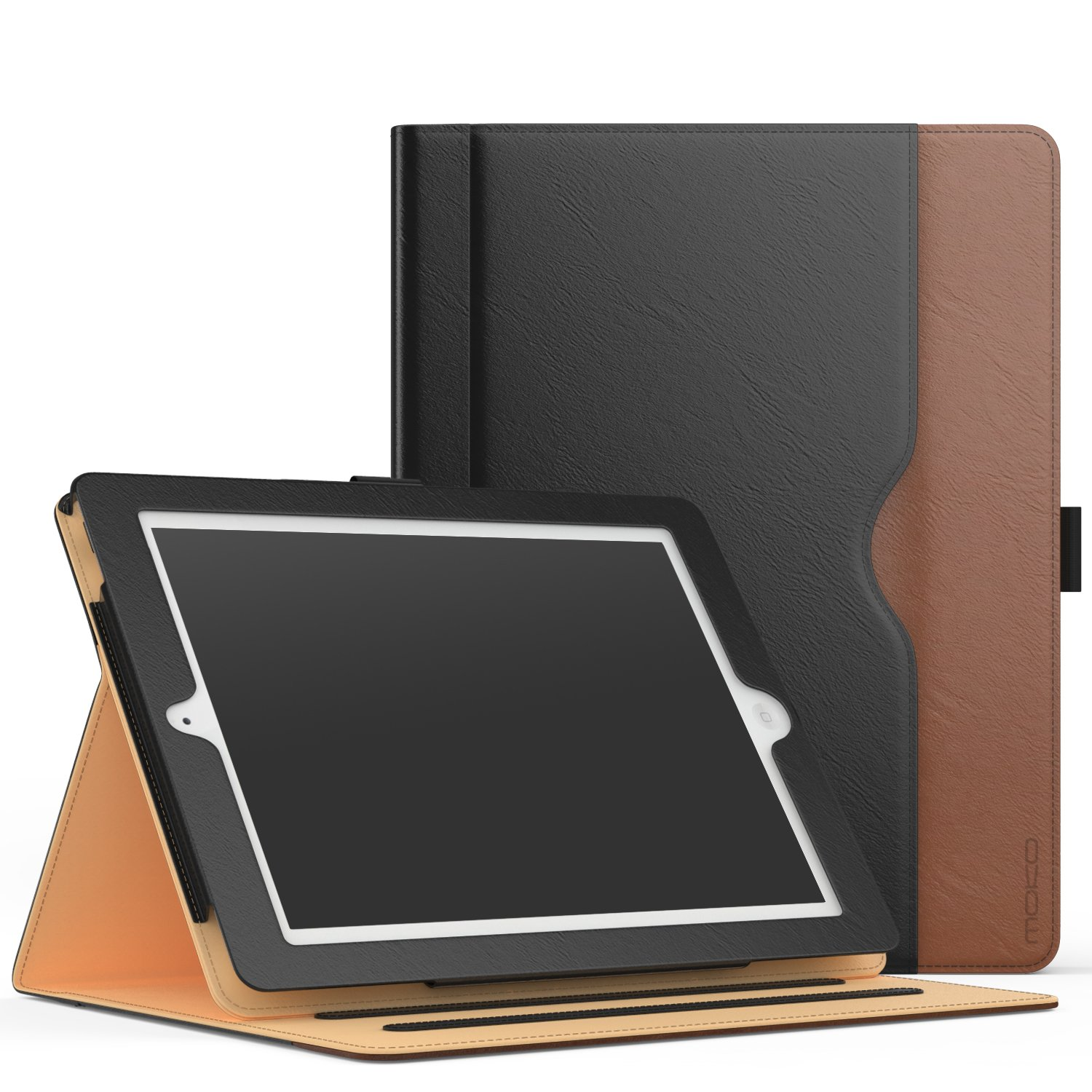 MoKo Case for iPad 2/3 / 4 - Slim Folding Stand Folio Cover with Auto Wake/Sleep and Document Card Slots, Multiple Viewing Angles for iPad 2 / The New iPad 3 (3rd Gen) / iPad 4, Black & Brown