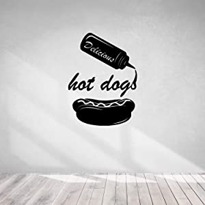 Cook Theme Sticker-Hot Dog Food Truck-Wall Decal Fast Food Cooking-Kitchen Pizza Bar Restaurant Wall Stickers Decor-Removable Wall Decals-0-003BGN39-11x15.16 in