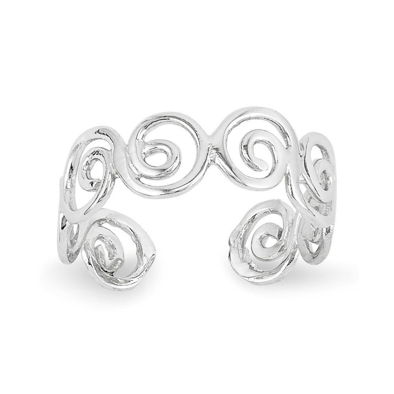 14k White Gold Polished Swirl Toe Ring