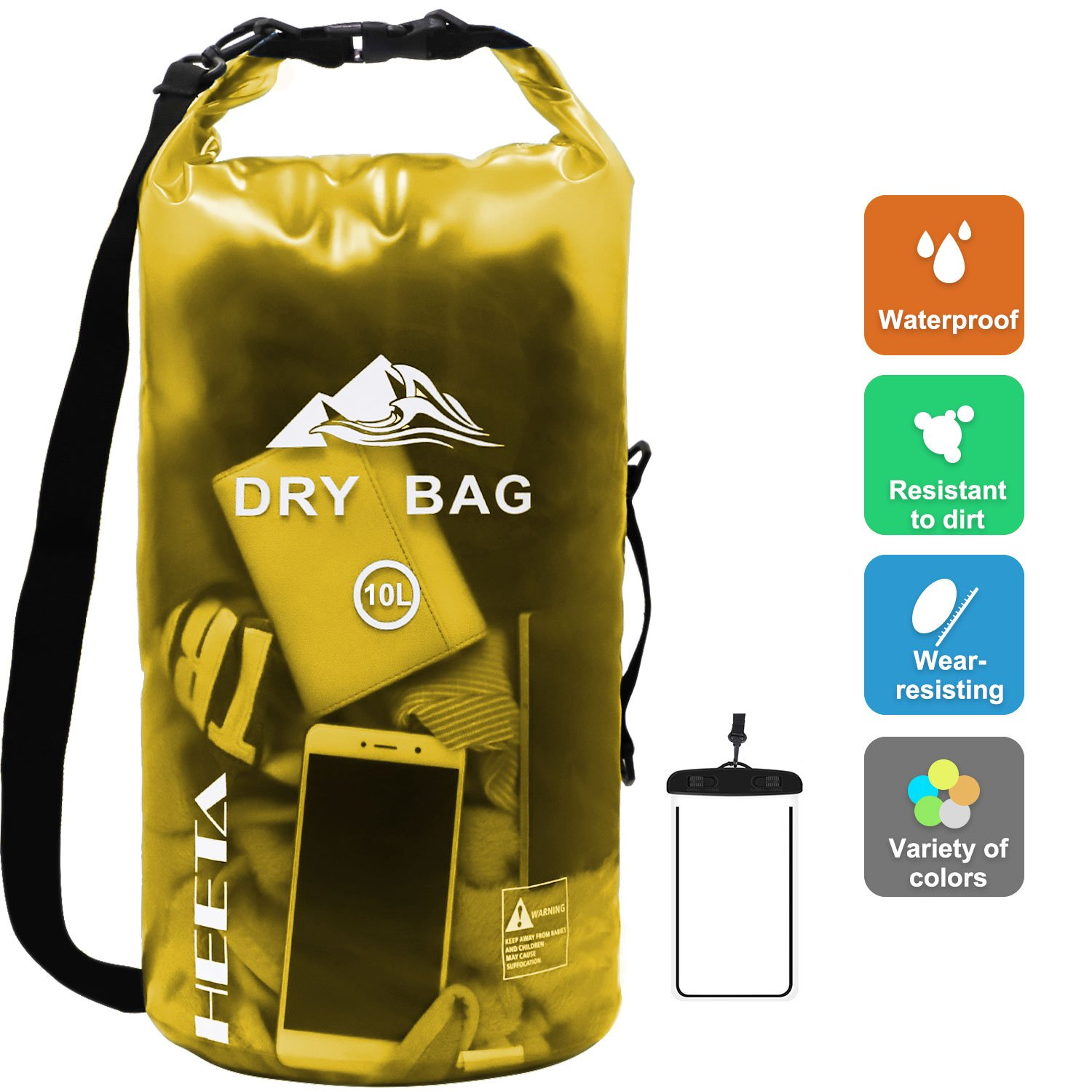 HEETA Waterproof Dry Bag for Women Men, Roll Top Lightweight Dry Storage Bag Backpack with Phone Case for Travel, Swimming, Boating, Kayaking, Camping and Beach, Transparent Yellow 10L by HEETA