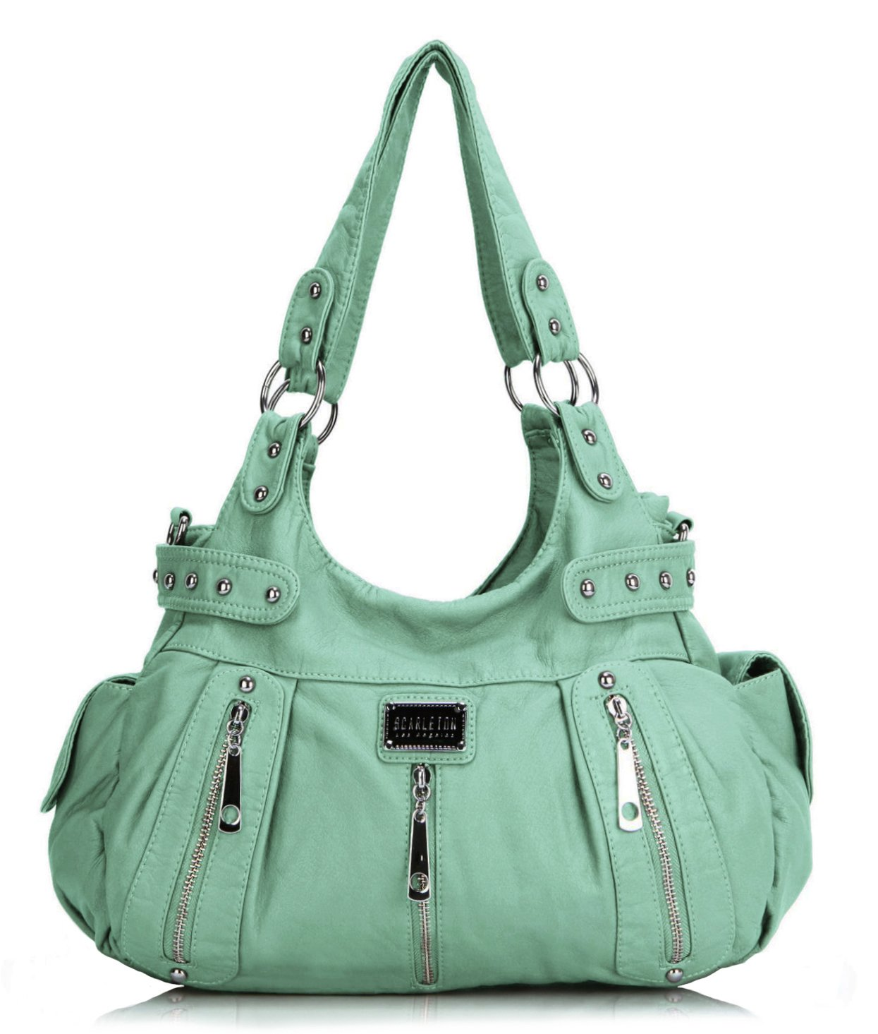 Scarleton 3 Front Zipper Washed Shoulder Bag H129253 - Mint