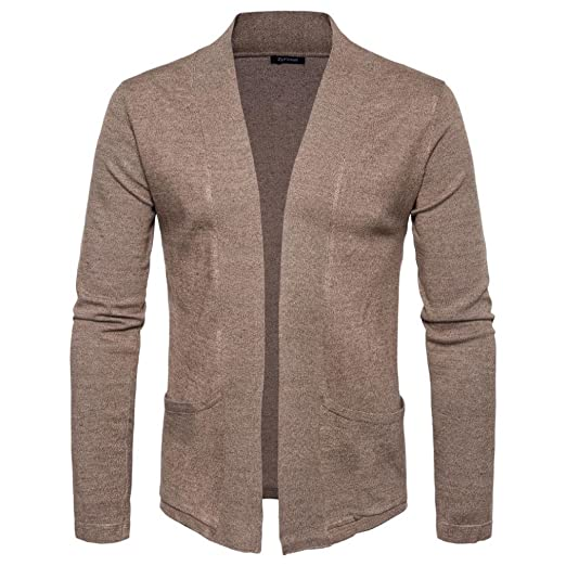 b1d8a1a4dcc9c FAPIZI Men s Coat Clearance Autumn Winter Cardigan Sweater Knit Casual  Knitwear Pocket Jacket Sweatshirt (Coffee