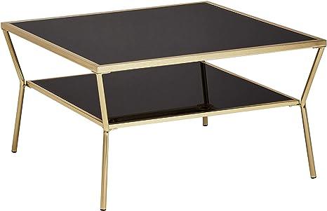 Ks Furniture Design Coffee Table Glass Black 70 X 70 Cm 2 Levels Gold Metal Frame Living Room Table Side Table Glass Table Square Amazon De Kuche Haushalt