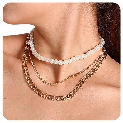 b28cde4032d9e Amazon.com: T-Doreen Gold Choker Necklaces Set Layered Chain Pearl ...