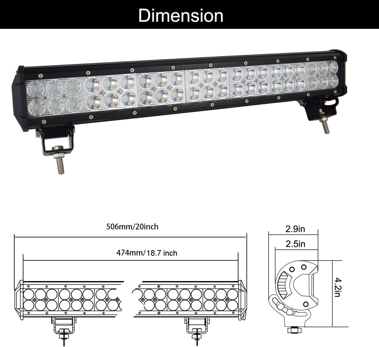 SKYWORLD Barra de luz LED 20 pulgadas 50.8 cm 126W Spot Flood Combo Beam Trabajo con l/ámpara de conducci/ón con placa de matr/ícula negra Juego de arn/és de cableado para cami/ón Coche atv 4X4 Cami/ón