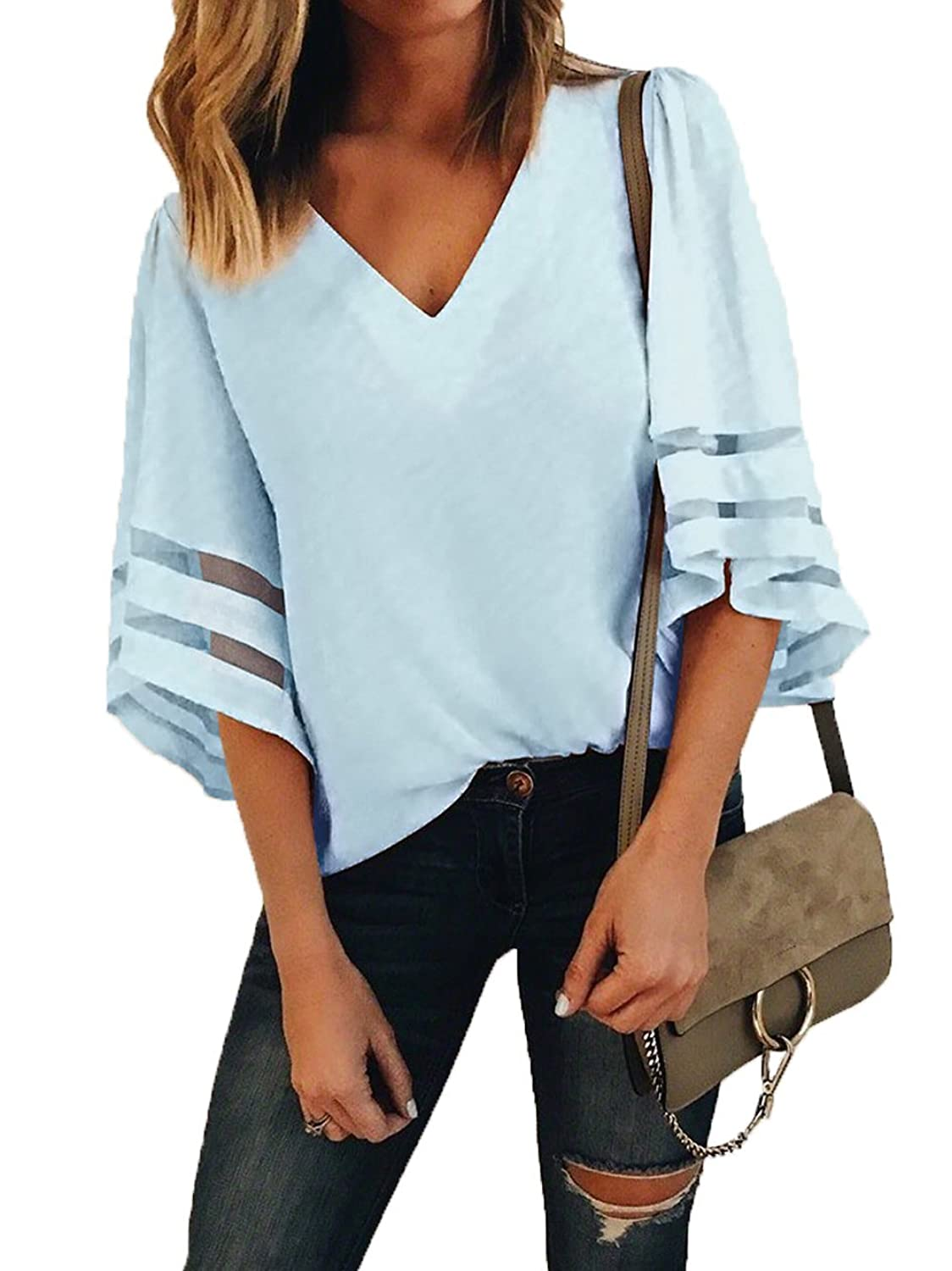 aaddb5ff This v neck shirt features 3/4 bell sleeve with mesh patchwork,loose fit  and sexy vneck style. Women Chiffon Blouse is Lightweight, Relaxed and  Comfortable ...