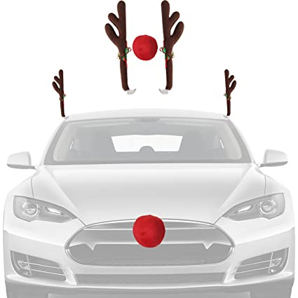 christmas car decorations reindeer kit holiday car window decor rooftop antlers and auto grill red