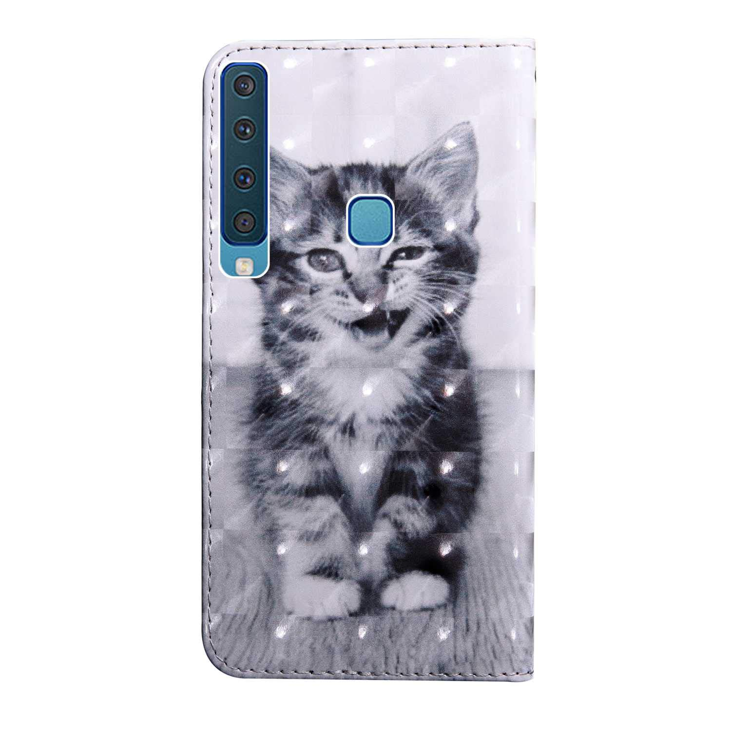 #3 Lace PU Leather Book Style Cover with Card Slots Bear Village Galaxy A9 2018 Case 3D Pattern Design Wallet Flip Case for Samsung Galaxy A9 2018
