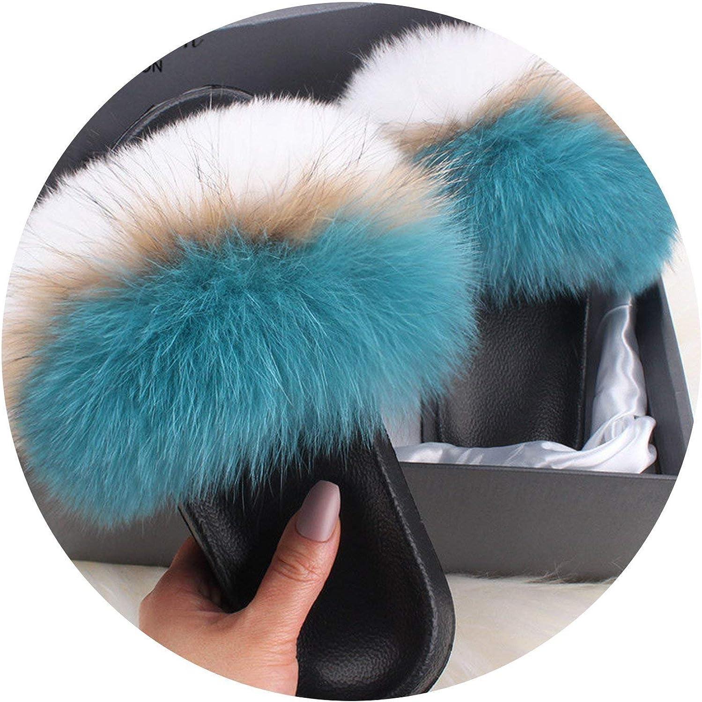 Fox//Raccoon Fur Slides Womens Casual Slippers Luxury Fur Flip Flops Sandals Shoes,Silver,10