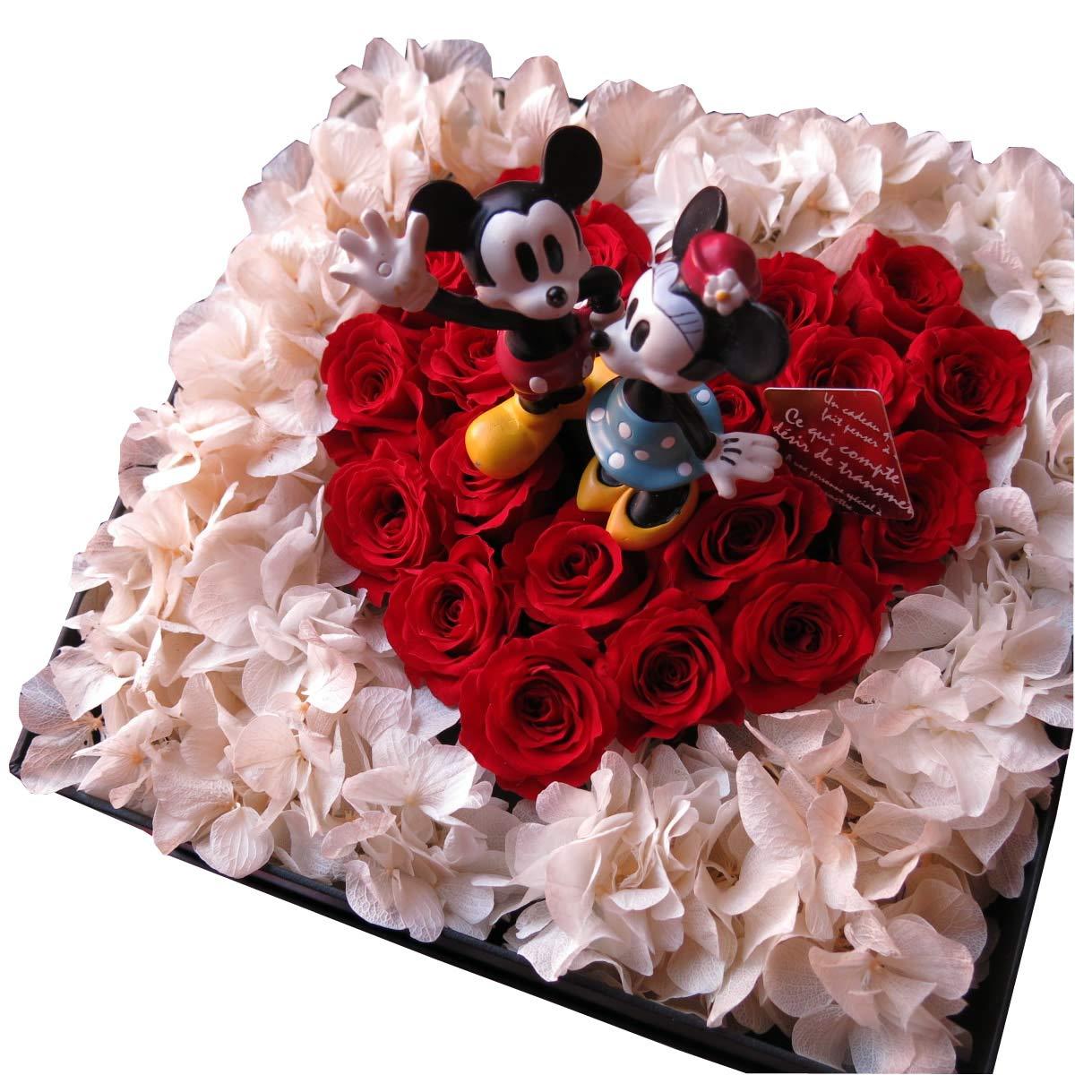 ミッキー ミニー入り 花 ディズニー フラワーギフト プリザーブドフラワー  赤バラ ハート 箱開けてスマイル ボックス(L)入り プリザーブドフラワー ノーマル... B00U2MV8MU