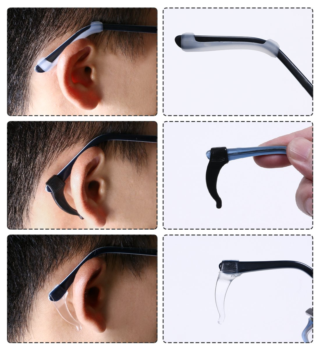 Penta Angel 8 Pairs Prevent Eyewear Slipping Silicone Eyeglass Strap Holder Anti Slide Glasses Sunglasses Spectacle Temple Tip Sports Ear Hook Grip Anti Slip Elastic Sleeve Retainer for Kids Adults