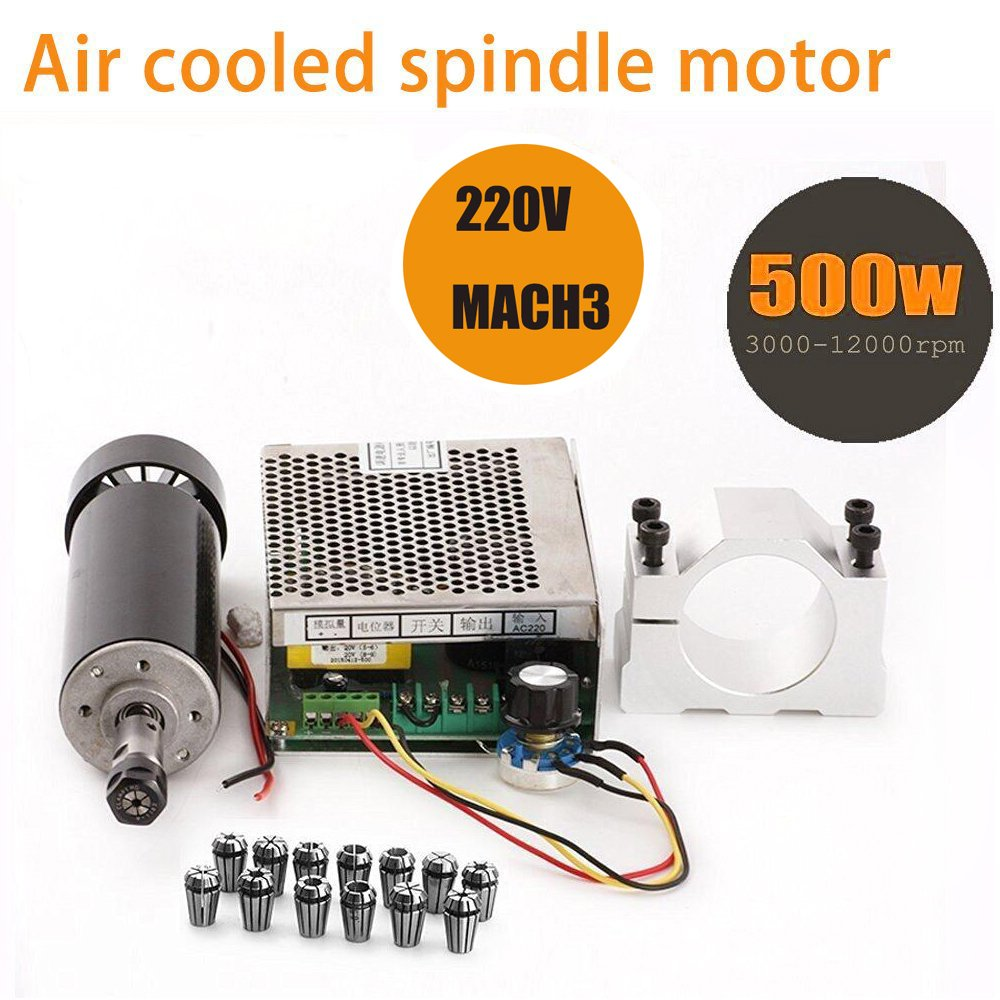 TopDirect 500 W Air gekü hlten 0, 5 kW Mini Spindle vitesse moteur + 220 V Mach3 Power Converter + 52 MM Clamp + 13pcs ER11 Collet pour machine CNC gravons