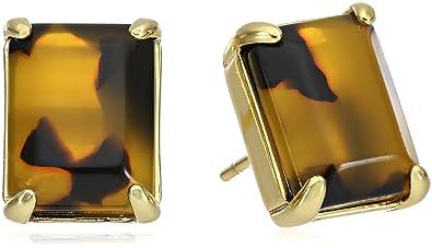 513a30603b3 kate spade new york Tortoise Color Emerald Cut Stud Earrings  Amazon ...