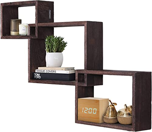 Rustic Wall Mounted Tier Square Shaped Floating Shelves Set of 3 Screws and Anchors Included – Farmhouse Wooden Shelves for Bedroom, Living Room and more Rustic Wall Barn D cor Rustic Brown