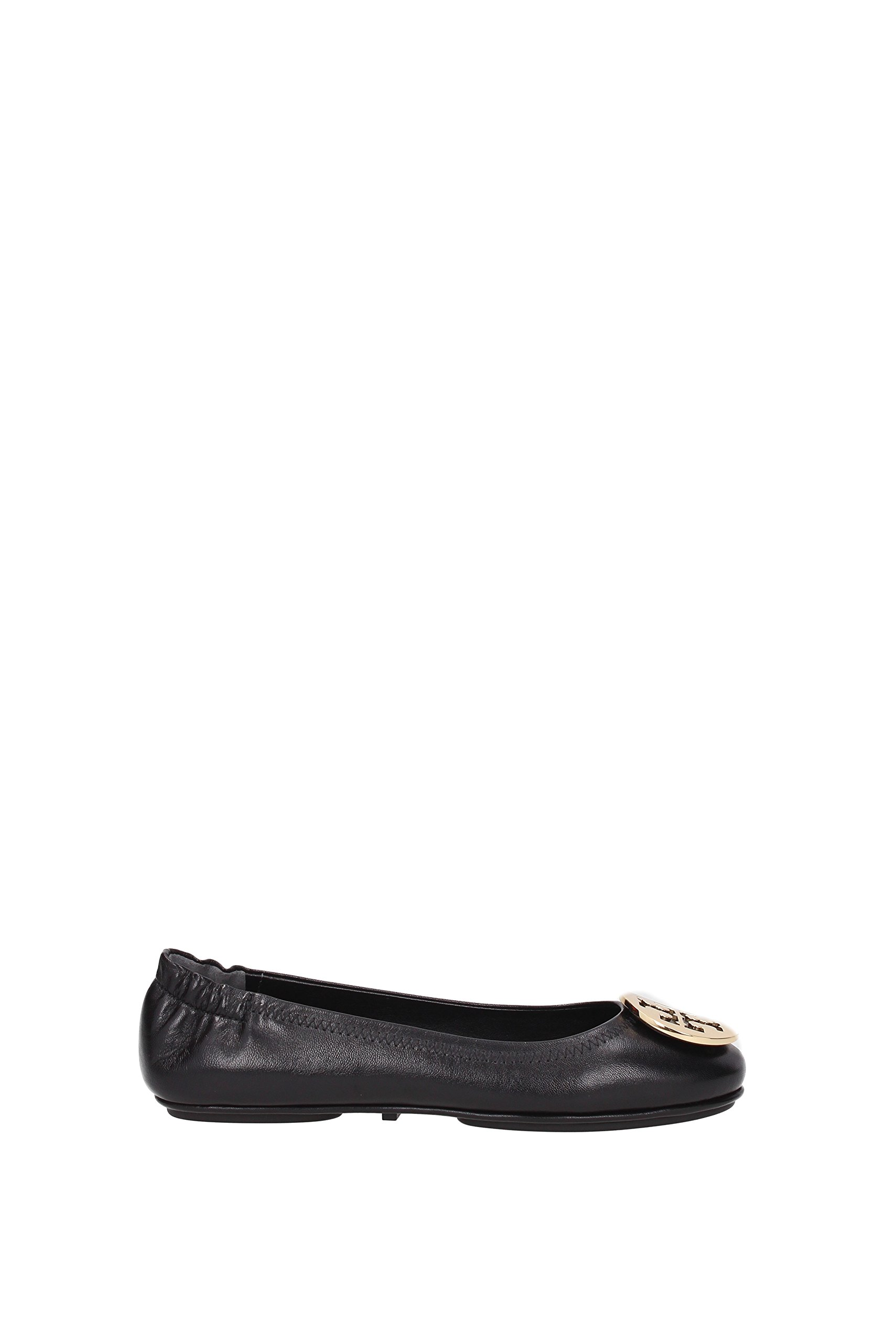 Tory Burch Minnie Travel Leather Ballet Flat - Size 9, Black/Gold by Tory Burch