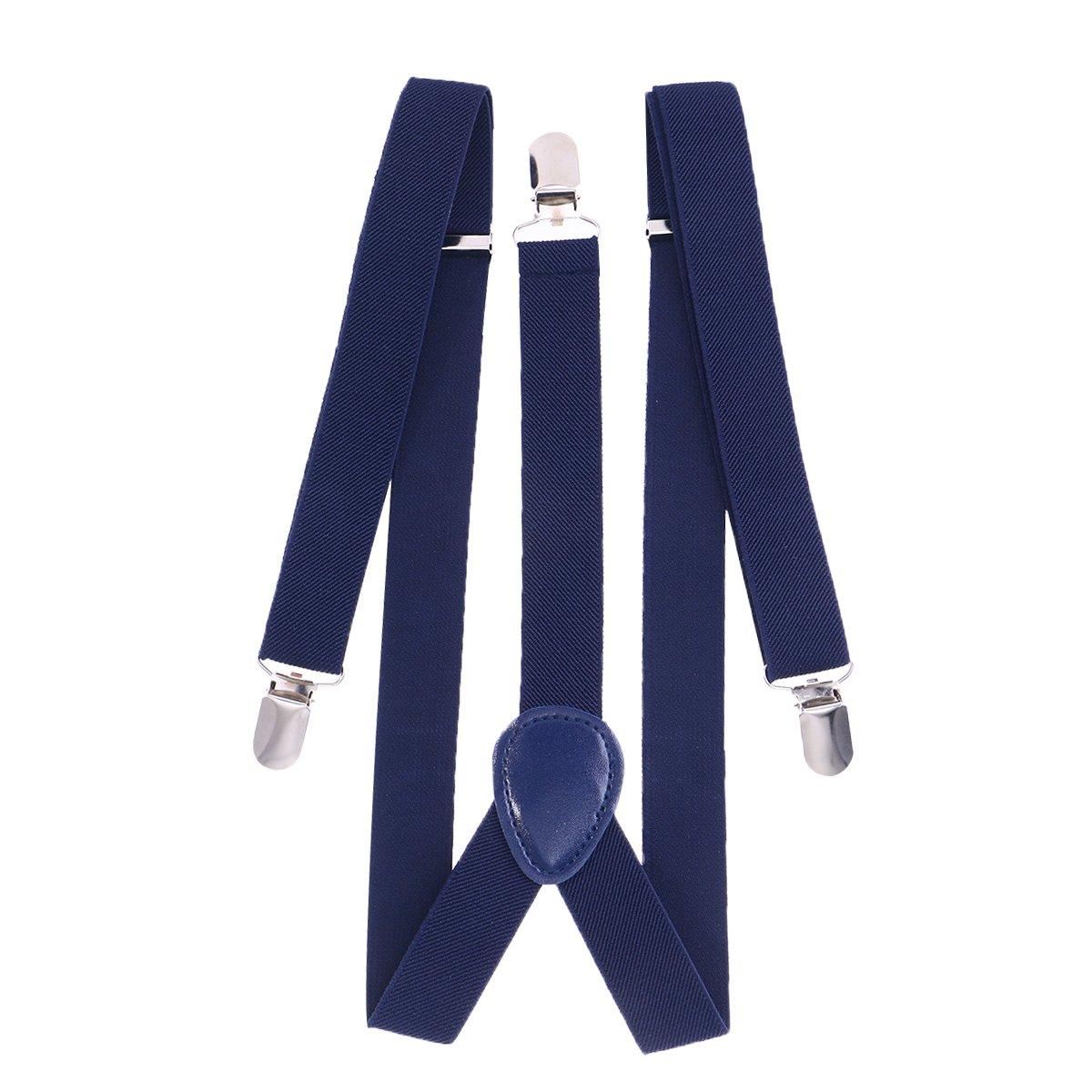 Azul Marino LUOEM Tirantes S/ólido en Forma de Y con 3 Clips Accesorio de Ropa Unisex 2.5 x 80cm