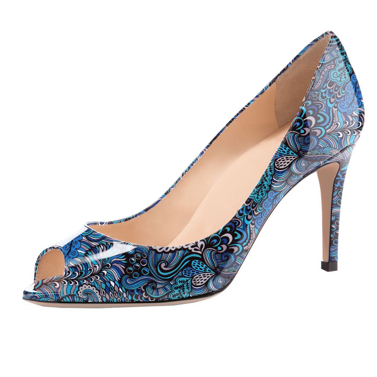 Eldof Women Peep Toe Pumps Mid-Heel Pumps Formal Wedding Bridal Classic Heel Open Toe Stiletto B07FHLK2M1 10.5 B(M) US|Blue-pattern