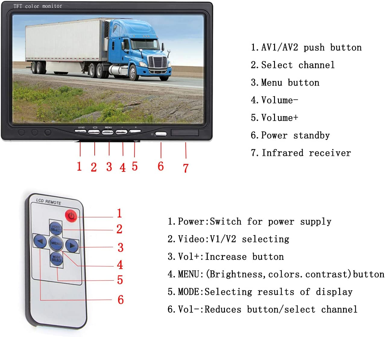 Trailer,Truck 4 Pins Aviation Extension Cable for 33FT Length RVs Bus Yasoca Vehicle Backup Camera 7 TFT Monitor,18 IR Night Vision Rear View Camera Without Gride Line IP 68 Waterproof