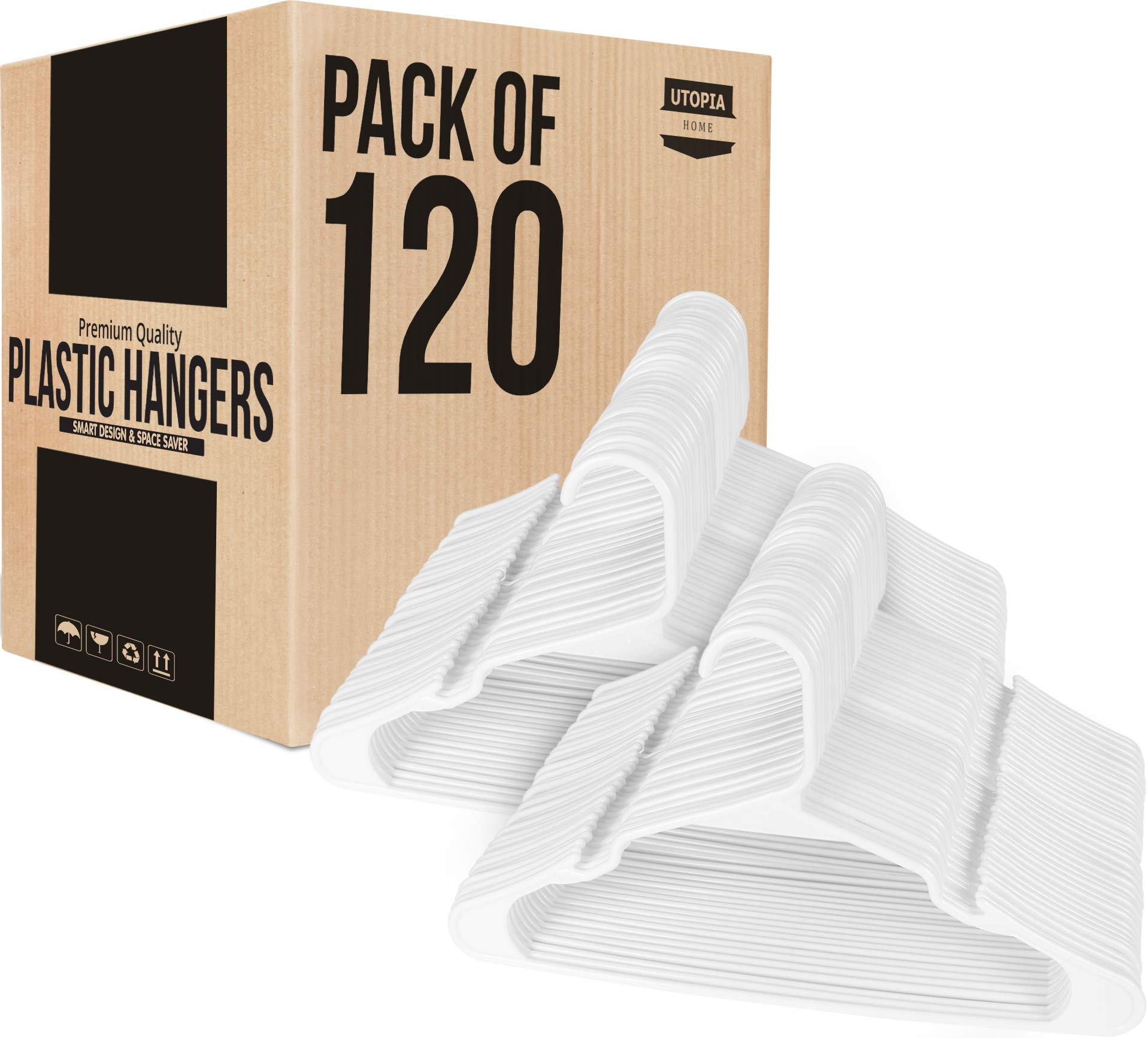 Utopia Home 120-Pack Plastic Hangers for Clothes Space Saving Notched Hangers - White