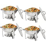 Super Deal Pack of 4 Full Size Round Chafing Dish 5 Quart Stainless Steel Tray Buffet Catering, Dinner Serving Buffer Warmer Set, Pack of 4