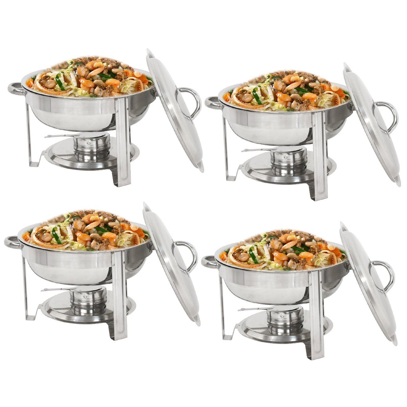 Super Deal Pack of 4 Full Size Round Chafing Dish 5 Quart Stainless Steel Tray Buffet Catering, Dinner Serving Buffer Warmer Set, Pack of 4 by SuperDealUsa