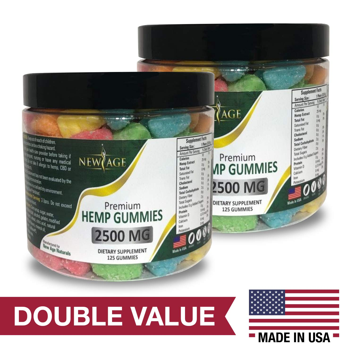 (2 Pack) Advanced Hemp Big Gummies by New Age Naturals - 5000mg- 250 ct. 20mg Per Gummy- Organic Hemp Extract Infused - Relaxing, Pain Relief, Stress & Anxiety Relief