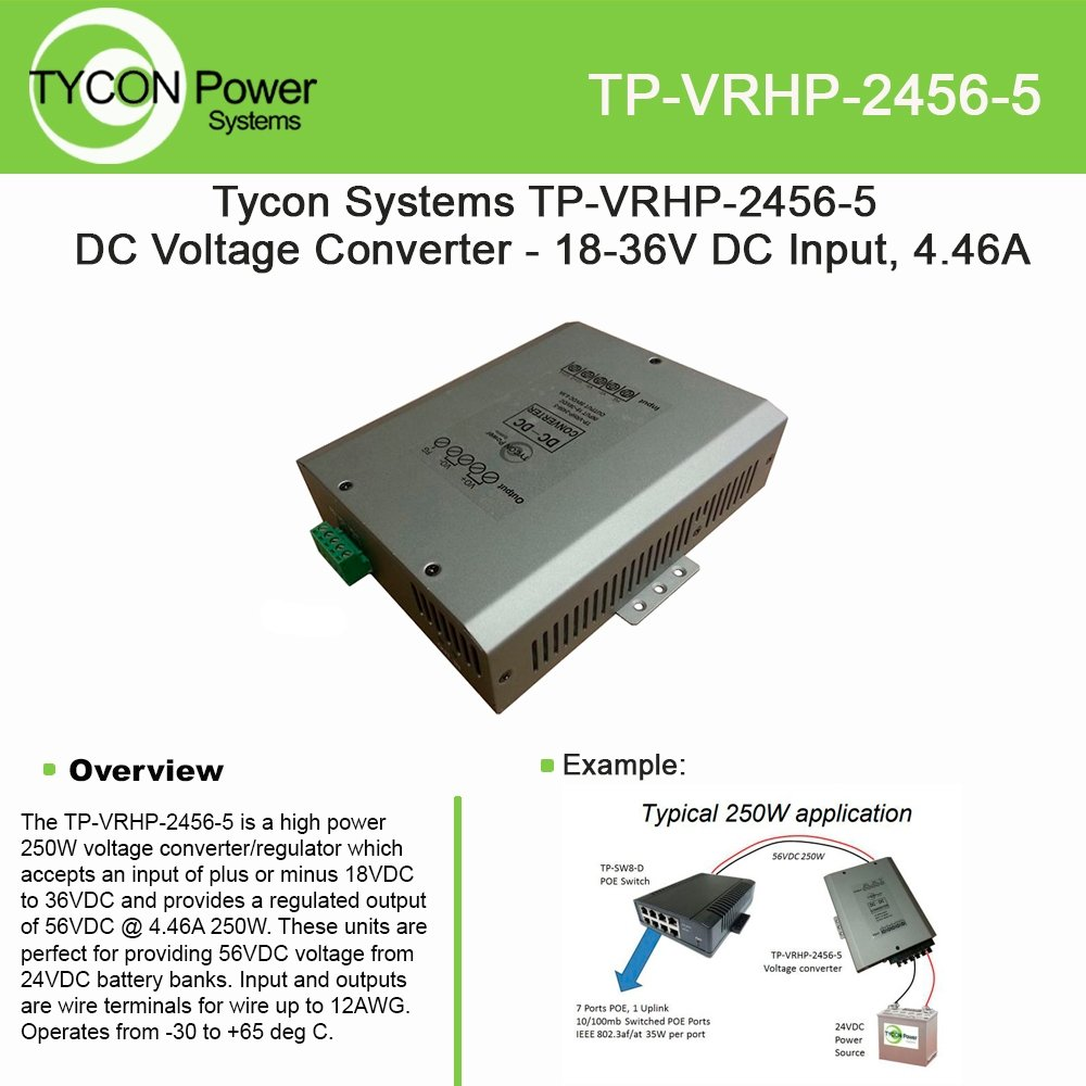 Tycon Power TP-VRHP-2456-5 18-36VDC Input 56VDC 4.46A 250W Output Voltage:  Amazon.com: Industrial & Scientific