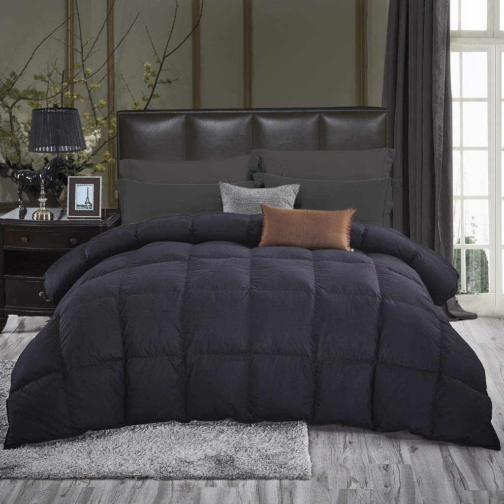 Luxurious All-Season Goose Down Comforter King Size Duvet Insert, Classic Black, Premium Baffle Box, 1200 Thread Count 100% Egyptian Cotton Cover, 750+ Fill Power, 65 oz Fill Weight (King, Black) by Egyptian Cotton Factory Outlet Store (Image #3)