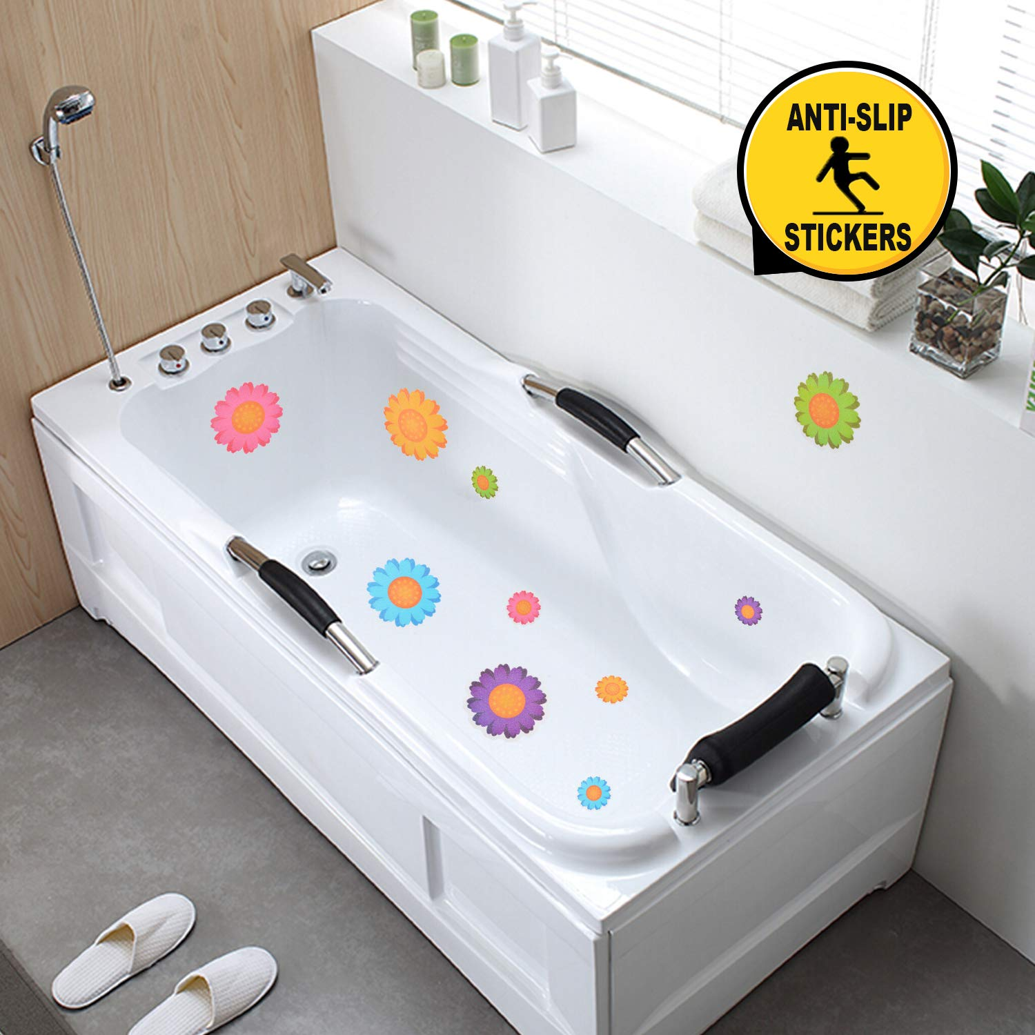 Nidoul Nonslip Bathtub Stickers Adhesive Bathroom Shower Safety Appliques Decals 10Pcs Flowers Anti-Slip Shower Stickers for Kids Adults