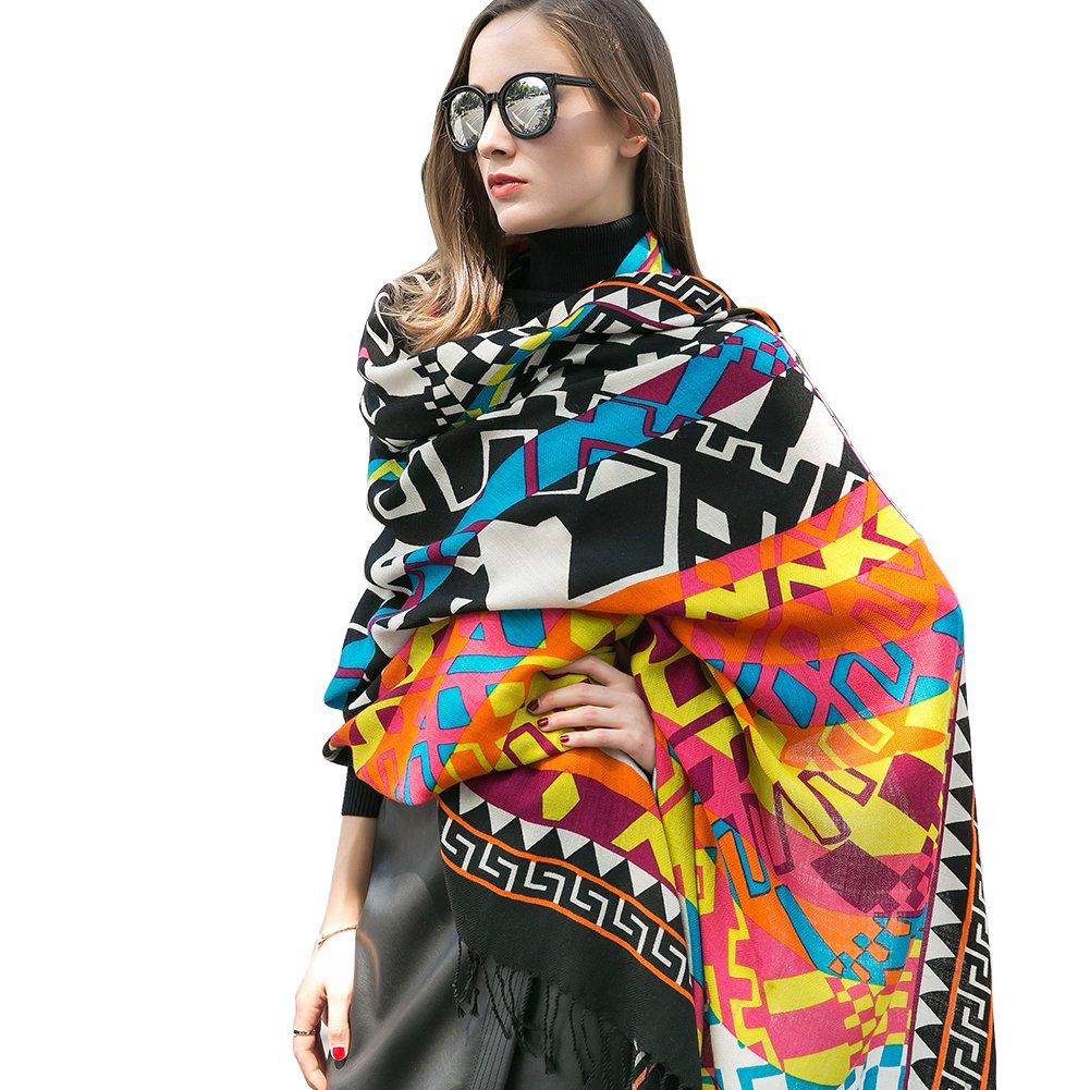 Dana Xu Women's Large Traditional Cultural Wear Pashmina Scarf (Colorful)