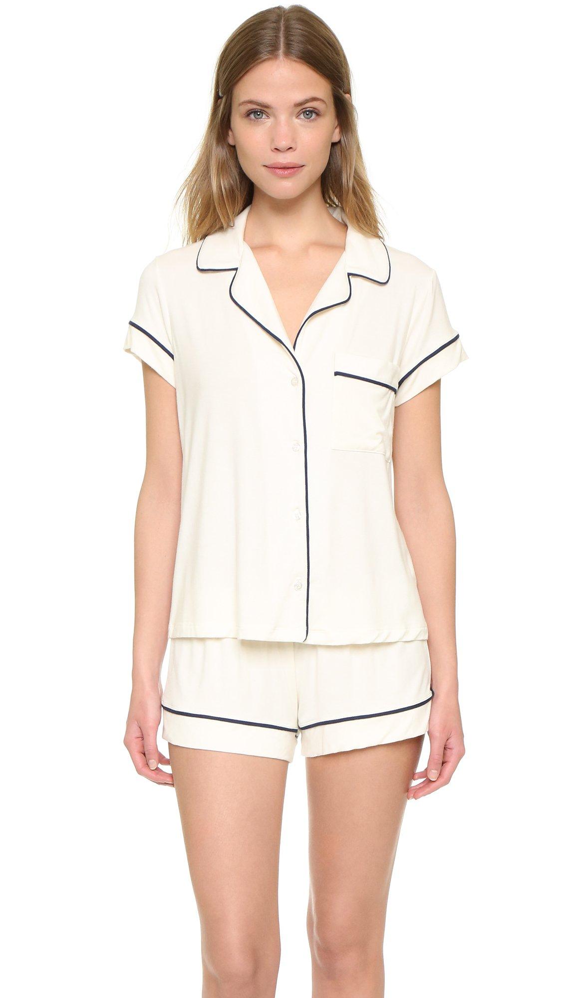 eberjey Women's Gisele Short Pajama Set, Ivory, Small