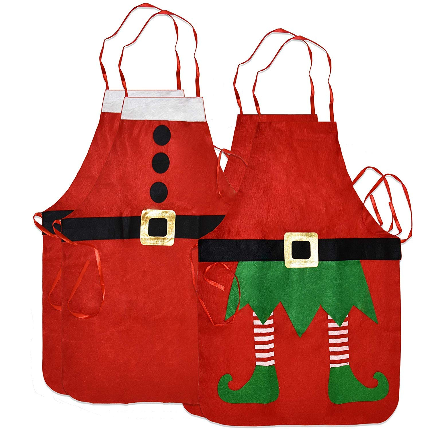 Gift Boutique 4 Pack Christmas Aprons Includes 2 Green Elf Apron and 2 Red Santa Claus Apron for Adult Women and Men for Holiday Party Costume Dress Up Accessories