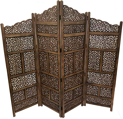 Benjara Hand Carved Foldable 4-Panel Wooden Partition Screen Room Divider, Brown