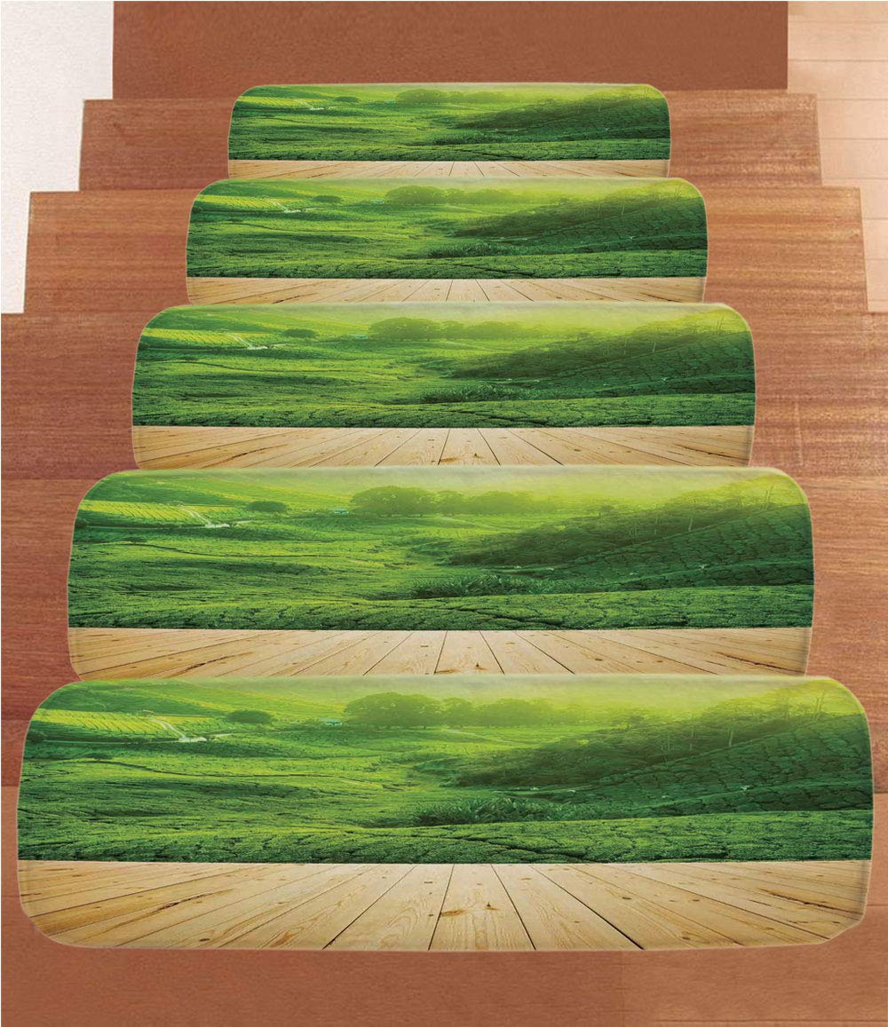 Non-Slip Carpets Stair Treads,Farm House Decor,Highlands Tea Plantations from Wood Balcony Perspective Sunrise in Eary Morning with Fog,Green,(Set of 5) 8.6''x27.5''