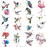 12 Pieces/Lot Watercolor Flying Birds Flash Fake Waterproof Tattoos Stickers Paper Funny Hummingbird Kids Body Arm…