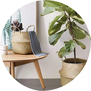 Seagrass Wickerwork Basket Rattan Foldable Hanging Flower Pot Planter Woven Dirty Laundry Storage Basket Home Decor Portable,L 32x280cm,Germany